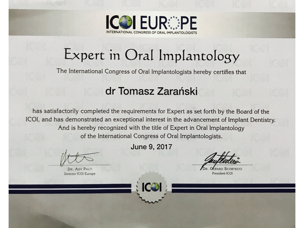 Expert in Oral Implantology Tomasz Zarański