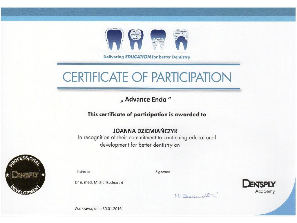 In recognition of thier commitment to continuing educational development for better dentistry on