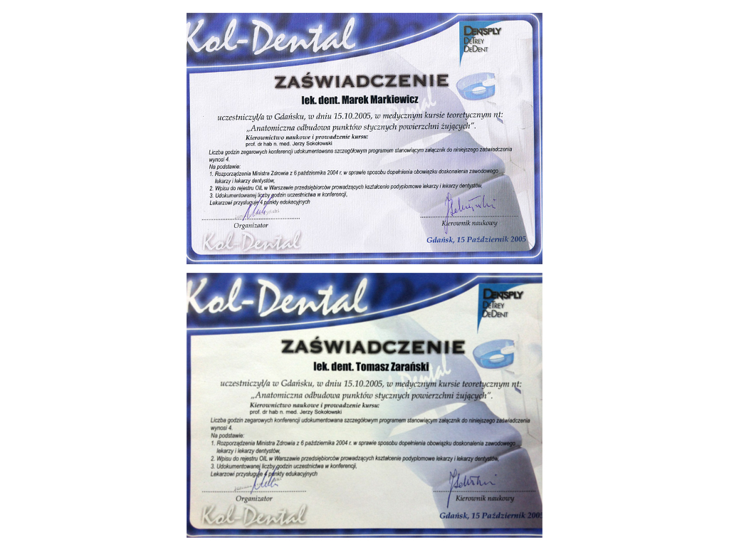 Dental certificates Composite filling certificate
